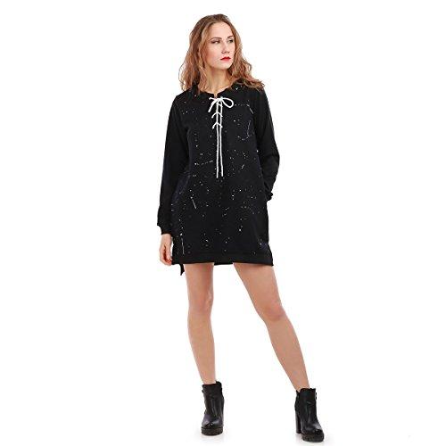 La Modeuse - Robe pull légère asymétrique à manches longues Noir