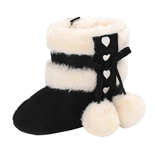 Kleinkind Schneestiefel Hirolan Warme Winterschuhe Mädchen Stiefel Neugeborenes Baumwolle gefütterte Schuhe Warming Schneeboots Baby Turnschuhe Säugling Junge Krabbelschuhe (Schön Schwarz, 11)