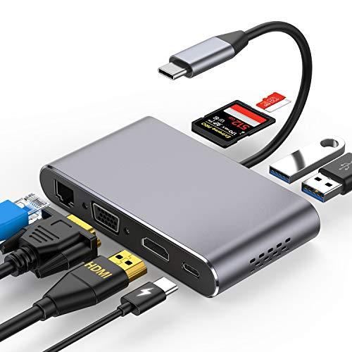 HOTUCG USB C Adapter, USB C Hub 8 IN 1 mit HDMI/VGA/Gigabit Ethernet/Type C/USB 3.0/SD/Micro SD Kartenleser, USB-C Hub Adapter für MacBook Pro/Air/Windows Laptops/Samsung/Huawei usw (Spacegrau)