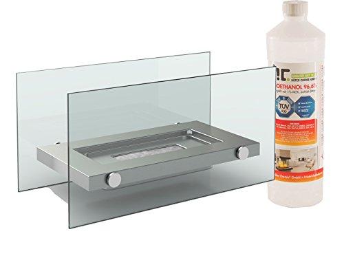 Diseño Mesa Chimenea Bioetanol + 1L), en acero inoxidable, diseño de chimenea de mesa para una cómoda atmósfera