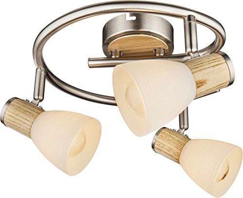 Lámpara de techo 3focos plafón Salón Lámpara madera applikation móviles focos (Luz...