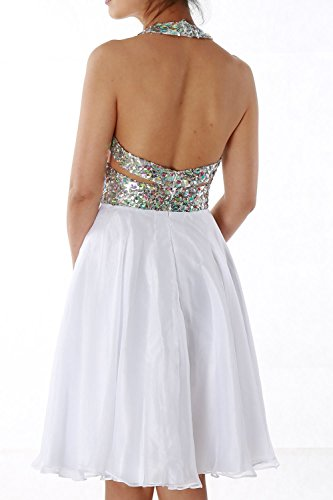 MACloth Elegant Short Prom Homecoming Dress Halter V neck Party Formal Gown Ivoire