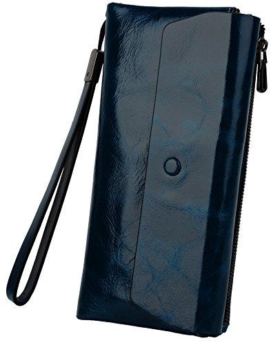 yaluxe-donna-grande-capacity-compact-wristlet-bifold-pelle-borsa-con-cerniera-pockets-blu