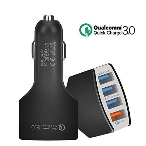 Mnioky Caricabatterie Auto Quick Charge 3.0 Caricatore da con 4 Porte Caricatore USB per Samsung Galaxy S8 / S8+ / Note 8, LG G5 / G6, Nexus 5X / 6P, HTC 10, iPhone XS/XS Max/XR, iPad PRO/A