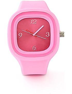 Armbanduhr Uhr Damenuhr Herrenuhr Unisex mit Silikonarmband - Pink