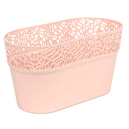 Ovale cache-pot NATURO plastique romantique style, orange