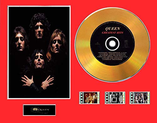 Queen - Display CD Effetto Vinile con Disco Nero o Oro e 3 pellicole cinematografiche, Layout Senza Cornice 1, Gold Disc, Greatest Hits Unframed