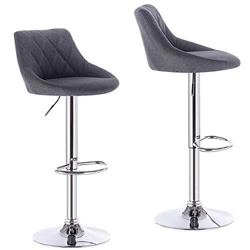 LLIVEKIT Barhocker 2er Set, Höhenverstellbar Tresenhocker Barstühle, gut gepolsterte Sitzfläche aus Leinen, 360° Drehstuhl (Dunkelgrau)