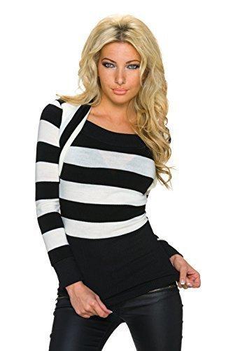 Fashion Pull Femmes Pull Sweat avec Bolero Coupe à rayures larges, différentes couleurs Blanc