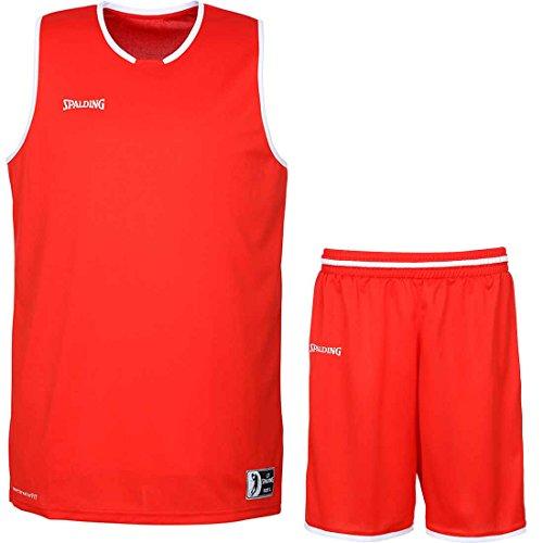 Spalding Basketball Move Shirt + Shorts für Kinder und Erwachsende (rot/weiß, L)