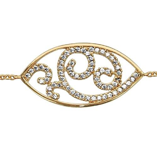 So chic gioielli© bracciale lunghezza regolabile: 16a 18cm mandorla ossido di zirconio bianco placcato oro 750