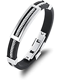 HOUSWEETY Bracelet Chaine Acier Inoxydable Silicone Reglable Anti-allergies Pour Homme Tresse Torsion