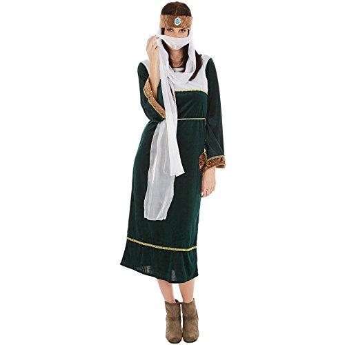 Frauenkostüm Orient Dame | Schönes Kleid mit Bindegürtel | wundervolle Kopfbedeckung mit Schleier | Perfekte Verkleidung aus 1001 Nacht (XL | Nr. 300993) (Partner Halloween Kostüme 2017)