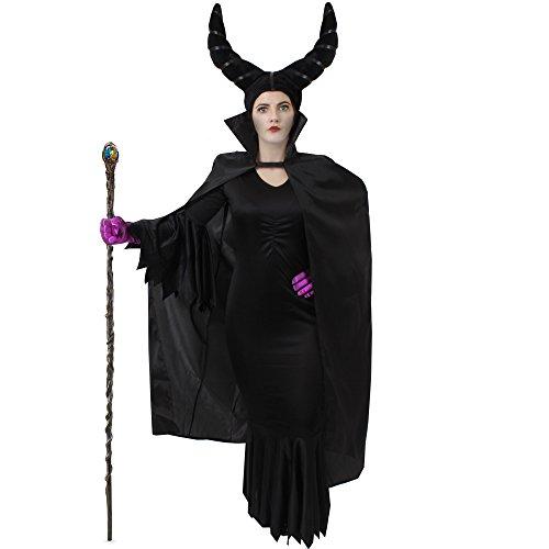Kostüm Zauberin Königin Böse - ILOVEFANCYDRESS MALEFI = BÖSE STIEFMUTTER KÖNIGIN KOSTÜM VERKLEIDUNG MÄRCHEN Fasching Karneval Halloween=BEINHALTET=Kleid+ Schwarze Handschuhe+Kappe MIT HÖRNERN +UMHANG 142cm+LILA Handschuhe=Large