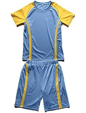 WEISHILI conjunto deporte/fútbol niño: Short de Fútbol y camiseta de fútbol. Colores (azul, azul guède, Rosa)