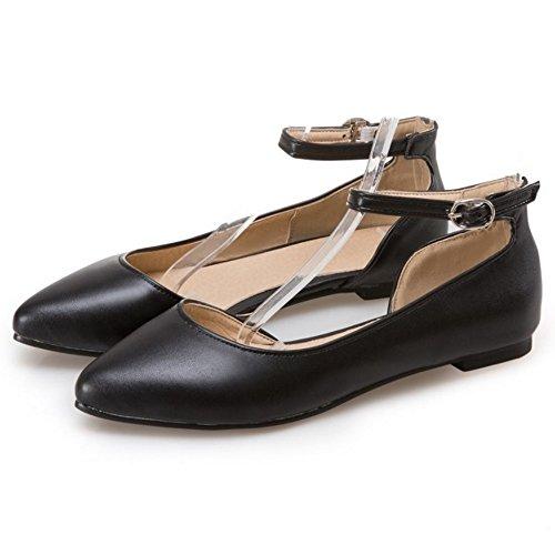 COOLCEPT Damen Mode Knochelriemchen Riemchen Sandalen Flach Geschlossene D'orsay Schuhe Gr Schwarz