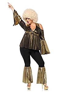 Leg Avenue- X Black/Gold Disco Diva Fancy Dress Costume (3X-Large-4X-Large/UK 24-28, 2-Piece) Mujer, Color negro, dorado, Talla Plus 3X/4X (EUR 52-56) (85596X)