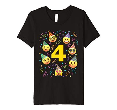 Kinder Kinder Cute Vier Jahre alt 4Emoji-Geburtstag Party Faces Hüte TShirt