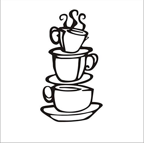 Kaffeehaus Tassen Neue Diy Abnehmbare Wandkunst Aufkleber Vinyl Wandaufkleber Home Kitchen Coffee Shop Dekoration Zubehör 18X38 Cm