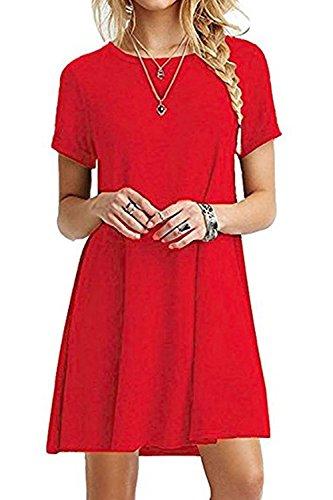Damen Sind Kurze Ärmel Locker Wieder Mini Partei Rock Kleid Red