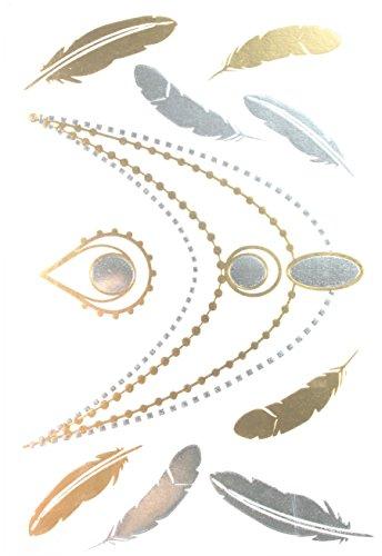 Gold & Silver & Black Feather et bijoux métalliques tatouages temporaires Taille: 8.27 \