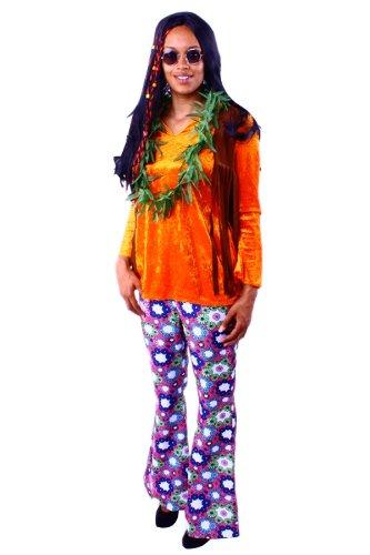 Hippie Bluse orange/braun für Damen Gr. L 60er 70er Kostüm (80er Jahre Bluse)
