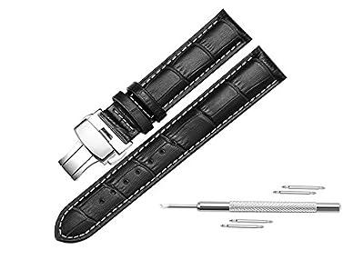 Reloj de pulsera para hombre Watchstrap de cuero de 20mm 22mm hasta cierre de mariposa hebilla para los hombres 4Color elegir