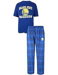 "Golden State Warriors NBA ""Game Time"" Men's T-Shirt Chemise & Flannel Pajama Sleep Set"