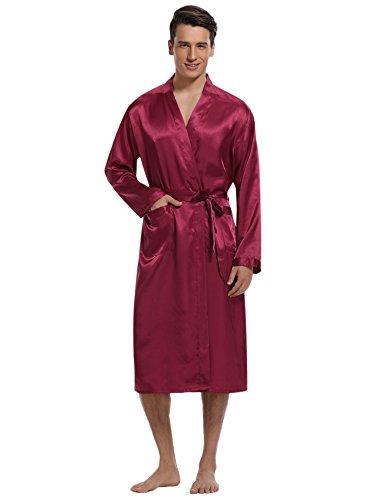 (Aibrou Herren Morgenmantel Bademantel Lang Satin Nachtwäsche Kimono Sleepwear V Ausschnitt mit Gürtel Rot S)