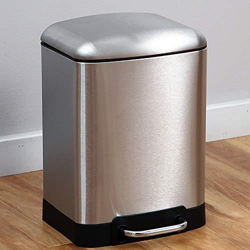 eimer Haushalt Edelstahl Pedal Typ Square Drum Badezimmer Papierkorb Küche Badezimmer Mülleimer Nass und Trocken (Größe : M) ()