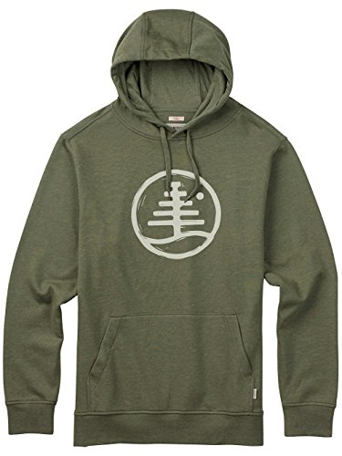 Herren Kapuzenpullover Burton Woodblock Family Tree Recycled Hoodie olive branch heather