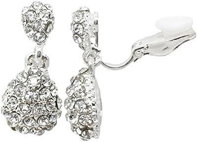Pendientes de clip bañados en plata en forma de gota para mujeres y niñas CZ Gatsby Ladies