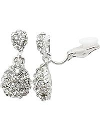 Drop CLIP ON Earrings Silver Plated Crystal Drop Dangle Womens Girls CZ Gatsby Ladies