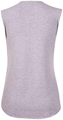 Purple Hanger - Femmes T-shirt débardeur extensible col cuillère imprimé Chouette pailleté Gris