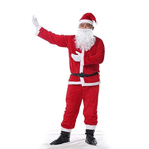 GLP Herren Santa Father Weihnachten bärtigen Kostüm Ball Kostüm Weihnachten Kleidung Set Luxus Luxus hohe Kostüm rot 6 Stück Set (Color : 6-Piece Set ()