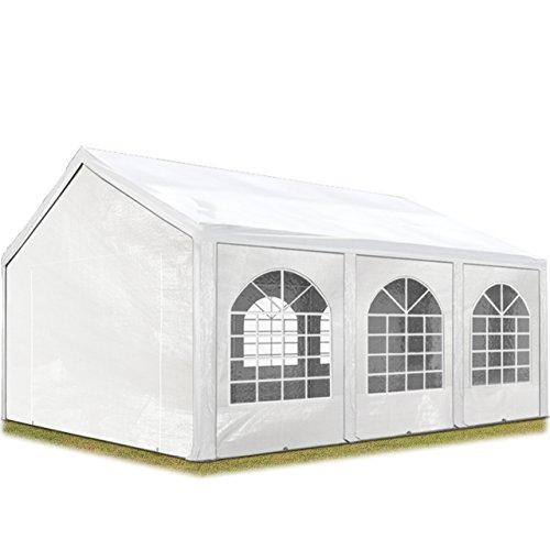 TOOLPORT Hochwertiges Partyzelt 3x6 m Pavillon Zelt 240g/m² PE Plane Gartenzelt Festzelt Wasserdicht weiß (Zelt Persönliche)