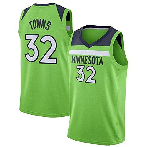 Karl-Anthony Towns # 32 Herren-Basketballtrikot - NBA Minnesota Timberwolves, New Fabric Embroidered Swingman Jersey Ärmelloses Shirt,Green-XL - Ärmelloses Jersey-shirt
