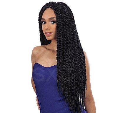 HJL-capelli kanekalon senegalese treccia parrucche parrucca anteriore del merletto dei capelli sythetic dei capelli Havana Mambo torsione , dark brown