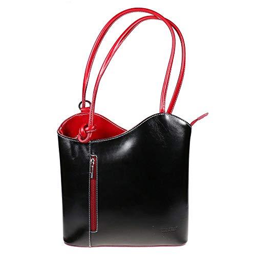LiaTalia Damen großartige weiche italienische Leder Piping Detail Schulter oder Rucksack Tasche mit Schutztasche - Libby z** (Nicht Piping) - Schwarz - Rot Trim - Italienische Leder Schultertasche Satchel