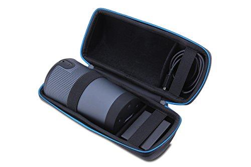 Supremery Bose SoundLink Revolve Bluetooth Lautsprecher Case Hülle Eva Reisetasche mit Tragegriff - Wasserabweisend in Schwarz-Blau (Nicht Passend für Revolve + Plus)