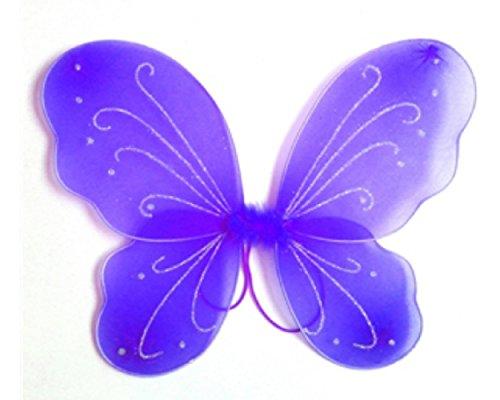 3-7 anni - accessorio per costume - travestimento - carnevale - halloween - teatro - ali di farfalla - fata - viola - bambina