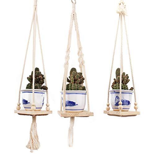 ChaRLes Geflochtene Seil Hängen Pflanzer Makramee Pflanze Blume Topf Halter Indoor Outdoor Dekorationen - E -