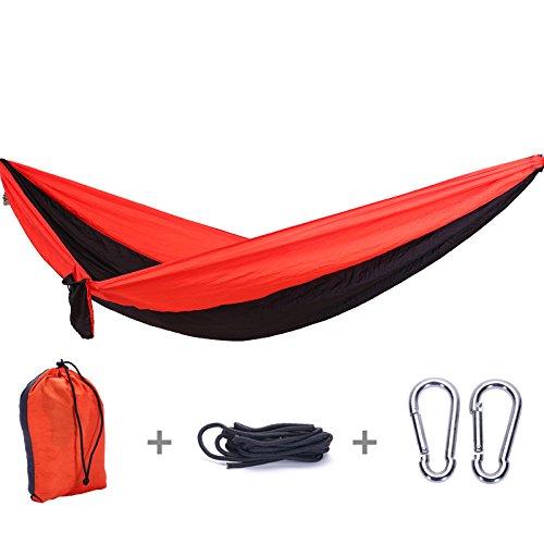 Jun7L Hamaca para Acampar - Hamaca portátil Liviana de Nylon, Camping, Viajes, Playa Negro Rojo 300x200cm