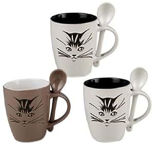 Silea 222/9199 Set de 3 Mugs Chat Céramique