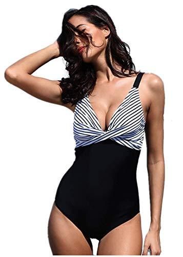 HIDENFAFR Sexy tiefe V Streifen Bikini Front Twist Knot Monokini Badeanzug Frauen Bademode Plus Size Badeanzug,Black,M -
