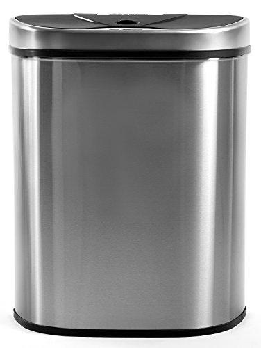 Homra Luxus Mülltrennsysteme Abfalleimer mit Sensor, 70 Liter, Hochwertiger Edelstahl, Automatische Mülltrenner Mülleimer mit Bewegungssensor