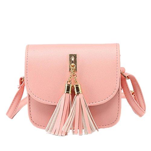 Damen Frauen Mädchen Kleine Ketten Bag Candy Quaste Messenger Bags Handtasche Schultertasche (Rosa)