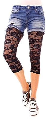 Damen Legging transparent Lingerie Spitzenleggings durchsichtig 3/4 lang aus Rosen Spitze Leggins One Size Uni Schwarz