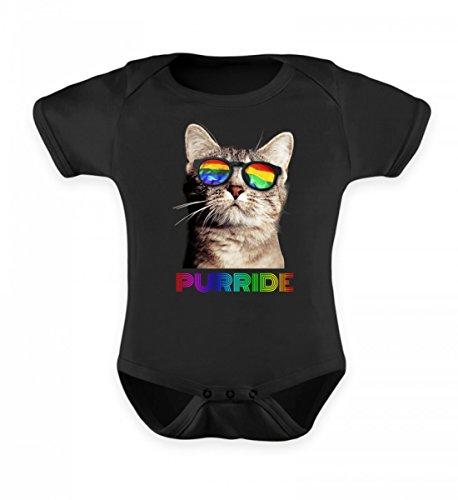 Hochwertiges Baby Body - Purride Lustiges Pride Parade Regenbogen Parade Gay Katze mit Flaggen LGBT Brille T-Shirt