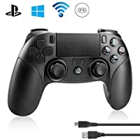 PS4 Controller Powcan PS4 Controller Wireless Bluetooth Controller for Playstation 4 Dual Vibration Shock Joystick Gamepad for PS4/PS4 Slim/PS4 Pro and PS3 / PC(Windows 7 / 8 / 10), Black